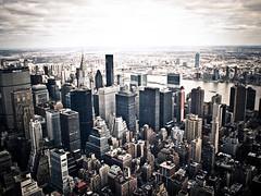 high, higher, highest - new york city (pamela ross) Tags: sky usa cloud newyork building america pen high day view unitedstates cloudy horizon olympus eastriver chryslerbuilding ep1 17mm mft