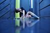 (laura zalenga) Tags: door blue light woman reflection girl stairs pose bathroom steel skirt tulip glassroof ©laurazalenga