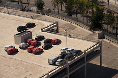 Parked ([m.w]) Tags: barcelona park trees red urban white black tree cars car silver concrete spain parkinglot angle parking palm vehicles palmtrees palmtree vehicle vans cocacola van carpark canoneos350d multistorey sigma18200mmf3563dcos sigmaaf18200mmf3563dcoshsm