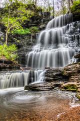 [免费图片] 自然・景观, 瀑布, 森林, 美國, HDR, 201104221900
