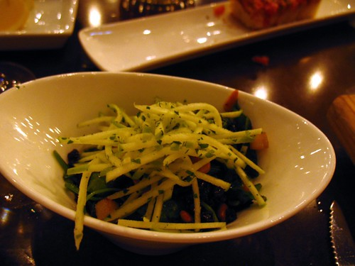 Fantastic tapas place in Chicago: spinach with pinenuts, apple, currants and sherry