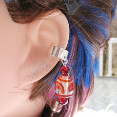 Red and Silver Swirl Cartilage Ear Cuff