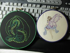Embroideries 4/21 - Green Dragon and Purple Fairy