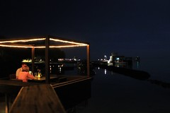 Palafitte restaurant (Simone Lovati) Tags: sea night lights restaurante maldives palafitte lilybeach