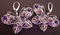 Sweet butterflies (Liz Pifferrer) Tags: earrings amethyst tourmaline sterlingsilver wirejewelry finesilver lemonquartz