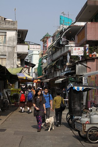 Walking the dog on the narrow streets on Cheung Chau