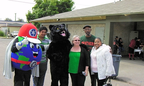 North Richmond celebrants and Richmond Mayor Gayle McLaughlin join the Recyclemore and Panther mascots for a photo-op Saturday at Shields-Reid Park.
