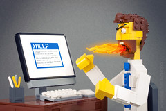 Nerd Rage (powerpig) Tags: man computer office keyboard lego rage helpbot