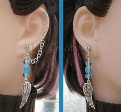 Blue and Silver Wing Cartilage Chain Earring Pair
