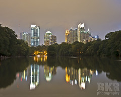 ATL Skyline (DrWoots) Tags: park street atlanta light portrait lake flower reflection skyline night buildings georgia botanical duck engagement pond scenery long exposure gallery nightlights skyscrapers tech atl scenic landmark run midtown 14th piedmont bulldogs stinks bkr