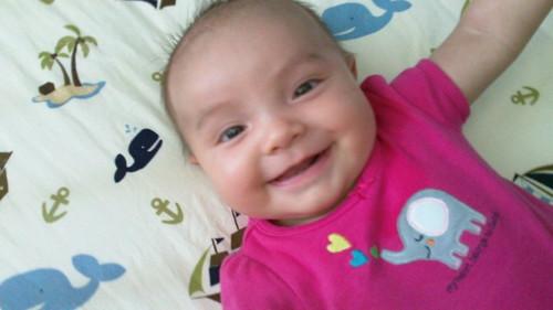 She smiles!