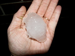 One of the larger pieces of hail (Shutterbug SuzieQ) Tags: hail hailstone