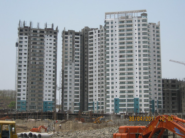 Closeup of Sangria Towers Premium Apartments in Megapolis, Hinjewadi Phase 3, Pune 411 057