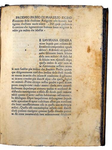 Title incipit of Ficinus, Marsilius: De Christiana religione [Italian]