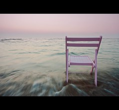 Pink on the horizon... (Mick h 51) Tags: longexposure pink ireland dublin white beach strand sunrise canon eos dawn twilight chair horizon sigma velvet coastline 1020 portmarnock 450d 57762
