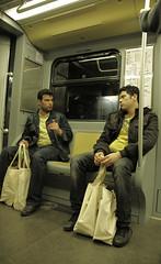 Looking at mirror (p$ychoboyJ@ck) Tags: italy man milan men yellow bag mirror italia metro milano streetphotography giallo metropolitana specchio equal uomini uguali similitudini metrò