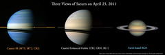 Three views of Saturn on April 25, 2011 (MikeMalaska) Tags: storm ir saturn rgb cassini the4elements serpentstorm