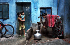 Blues Again ! (Hridoy_Tanveer) Tags: lighting blue light shadow people canon children photography eos child candid streetphotography blues streetphoto dhaka bangladesh xsi mild ol