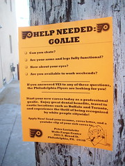 Flyer's flyer (Huggie! (temporary trade impasse)) Tags: streetart sign goalie hug philly flyers hugz wantad huggie philadelphiaflyers helpneeded