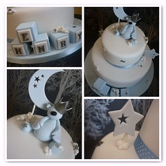 Clouds & stars christening cake (The Designer Cake Company) Tags: clouds stars buildingblocks christeningcake fondantteddy
