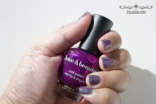NOTD: Forever 21 Love & Beauty Magenta under China Glaze Cracked Concrete Crackle nail polish