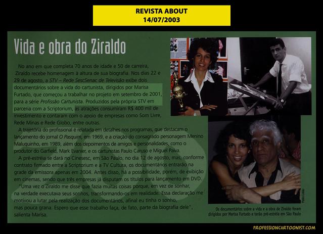 """""""Vida e obra de Ziraldo"""" - Revista About - 14/07/2003"""