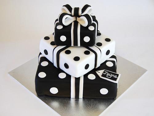 Black And White Present Stack Cake Beautiful Birthday Cakes