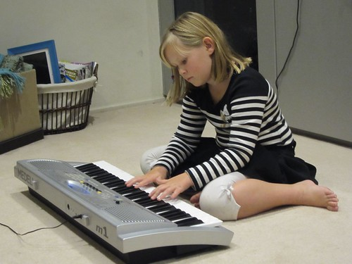 Christy playing the keyboard