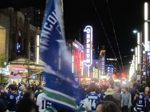 Granville Street Party Celebrating Vancouver Canucks in Stanley Cup Finals