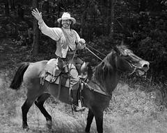 Waving Ranger (Brad Buszard) Tags: portrait blackandwhite bw horse 120 film monochrome analog mediumformat virginia richmond mf 6x7 ilfordfp4 blackwhitephotos fujigw670