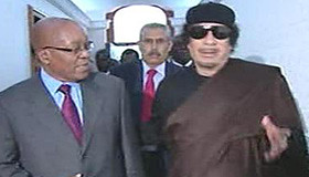 South African President Jacob Zuma with Libyan leader of the revolution Muammar Gaddafi during a state visit to Tripoli. Libya has once again accepted the African Union peace plan for the country. by Pan-African News Wire File Photos