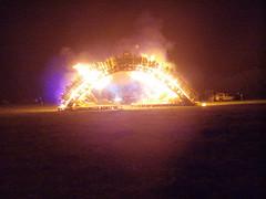 Burning Bridges (a3rynsun) Tags: wood bridge fire projection effigy burningflipside 2011 burnnight cyberlight