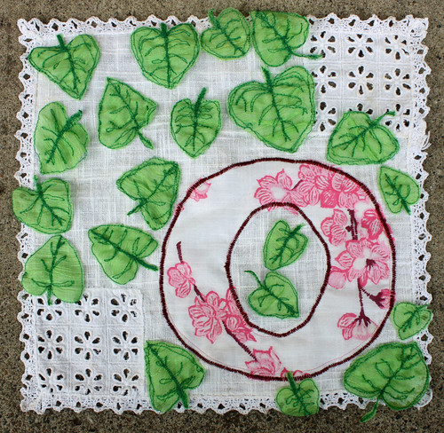 "Spring banner - ""O"" with leaves"