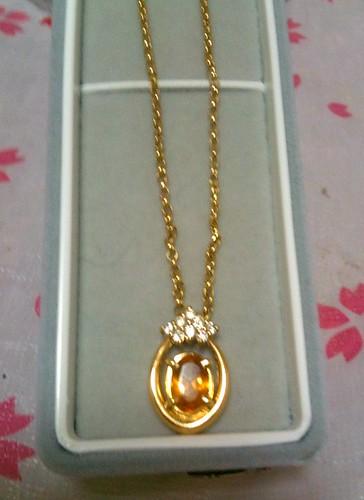 18K YG Citrine and Diamond necklace by KitaRei