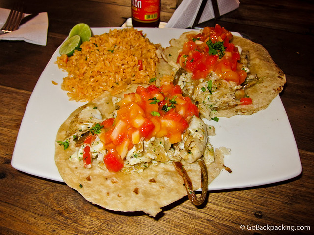 Fish tacos at Agave Azul
