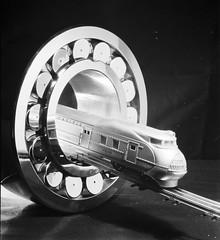 S. K. F. Bearing, Train coming thru bearing (SMU Central University Libraries) Tags: trains skf m10000 unionpacific lionel modeltrains streamliner bearings svenskakullagerfabriken