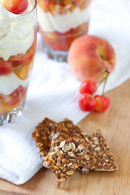 Cherry-Peach Yogurt Parfaits with Maple Granola Brittle