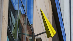 Metal Paper Plane (Theen ... busy) Tags: blue building brick window glass yellow metal plane reflections mall paper concrete grey samsung adelaide harris scarfe rundle theen eige