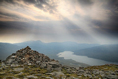 Hazy morning on an Assynt summit (OutdoorMonkey) Tags: quinag assynt spideancoinich corbett mountain cairn sunbeams loch lochassynt summit peak scotland wild wilderness remote haze hazy outside outdoor