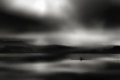 Lone Oarsman (or Woman) (PixellMate) Tags: hollingworthlake lake landscape littleborough reservoir reflections water rochdale smithybridge clouds sky haze mist rowing rower