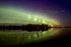 Aurora Curtains Sept 19, HFF (John Andersen (JPAndersen images)) Tags: aurora fence irricana night pond reflections stars