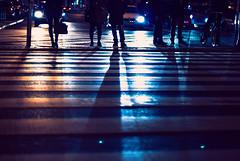 night life (ewitsoe) Tags: night evening shadows light cars peopel pedestrians lanes city life urban childrenofthenight nikon d80 35mm poznan poland ewitsoe cityscpe nights crowd carlights hazezebrastripes crosswalk