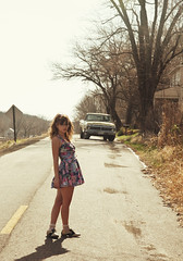 (yyellowbird) Tags: girl truck lolita missouri cari smalltown moselle saddleshoes shortlegs flowerdress