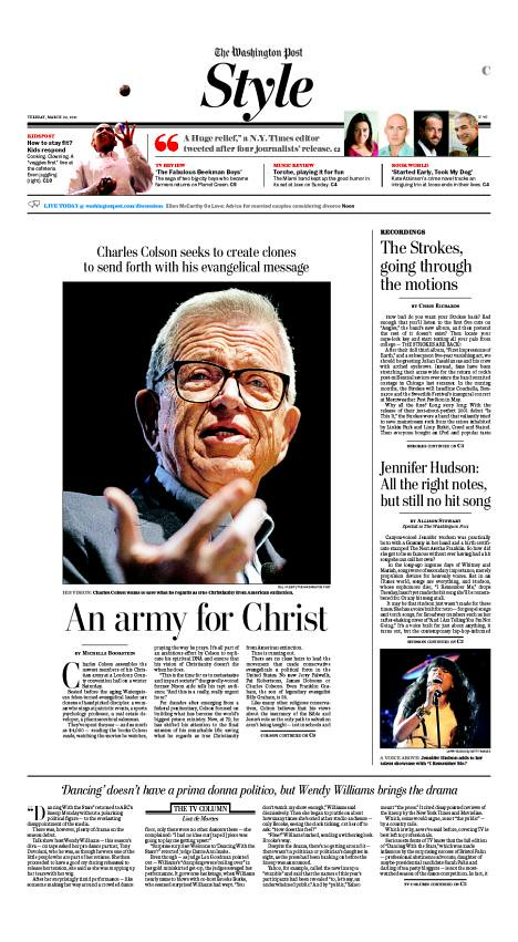 Chuck Colson in The Washington Post Style Section