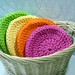 Washcloths Facecloths Crochet Cotton Bright Colors Set of 8 by Peanuts Creations