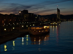 Danube River, Vienna (Plamen Velev) Tags: vienna reflection tower night ship dusk millennium kai zuiko danube swd donau skyscrapper 1260 refflection olympuse3 plamenvelev