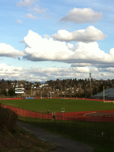 Fluffy Clouds Over West Seattle Stadium
