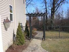 ornamental_aluminum_pergola_gate (Elyria Fence) Tags: pergola ironfences trellises gardenlattice gardentrellis ornamentalaluminum pergoladesign