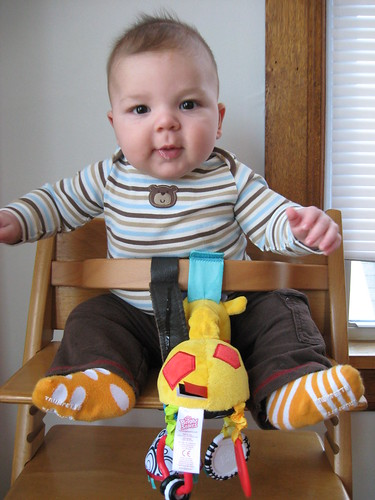 trying out the high chair