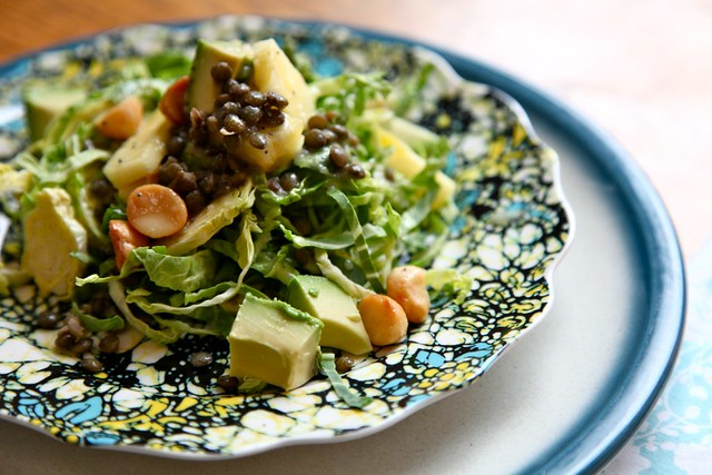 Shaved Brussels Sprout Salad with Pineapple Poppy Seed Vinaigrette